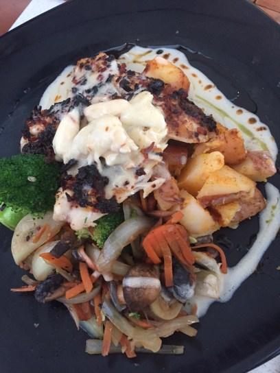 Bacon-onion encrusted yellowtail at Snook's Bayside Restaurant - 99470 Overseas Highway, Key Largo - snooks.com