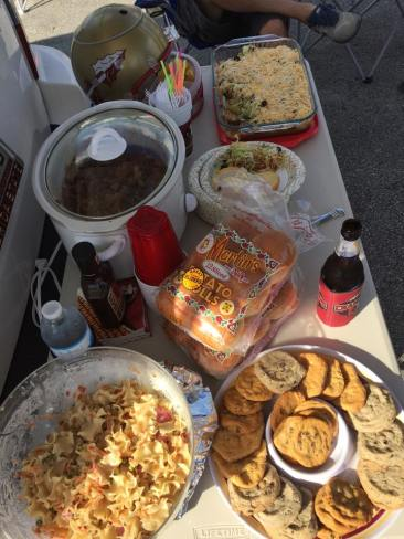 Tailgate food table