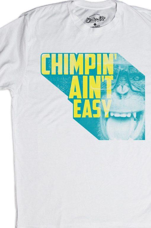 Mens_White_Chimpin' Aint Easy Retro Tshirt