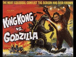 To af filmhistoriens største monstre mødes i kamp i King Kong VS Godzilla (1962).