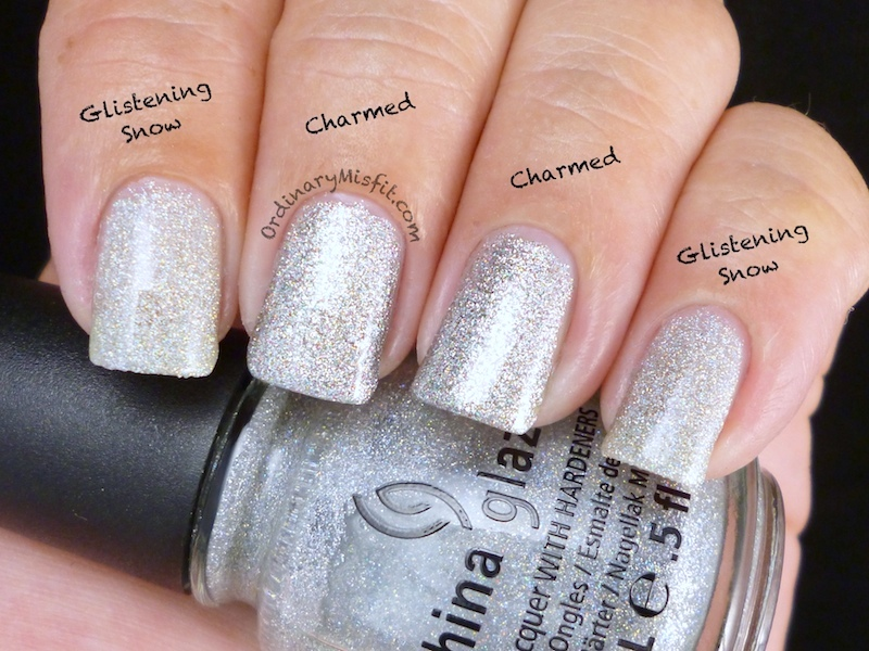 Comparison: Sinful Colors - Charmed vs China Glaze - Glistening Snow