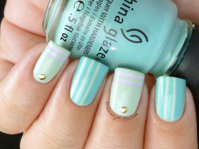 Minty stripes & studs nail art