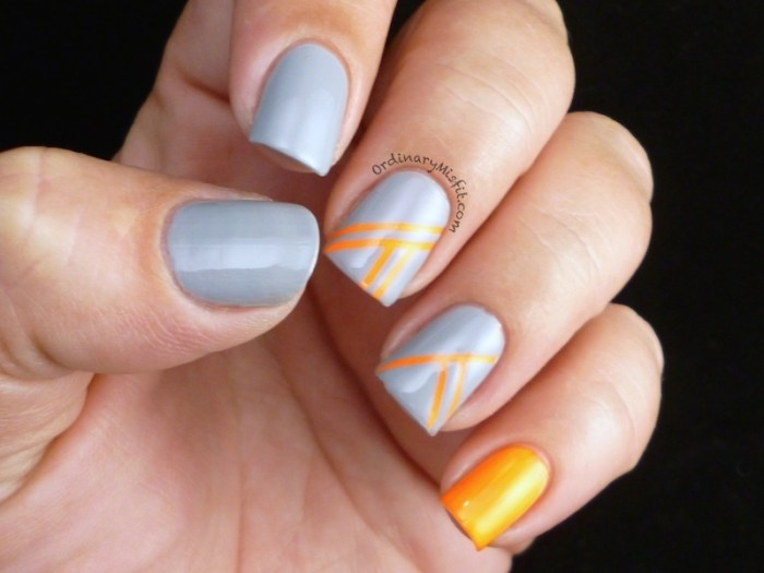 Orange stripes nail art 4