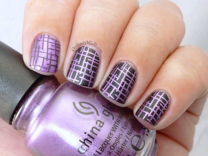 Purple and black nail art 3