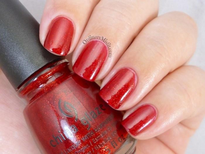 Comparison Sinful Colors Ruby glisten vs China Glaze ruby pumps 2