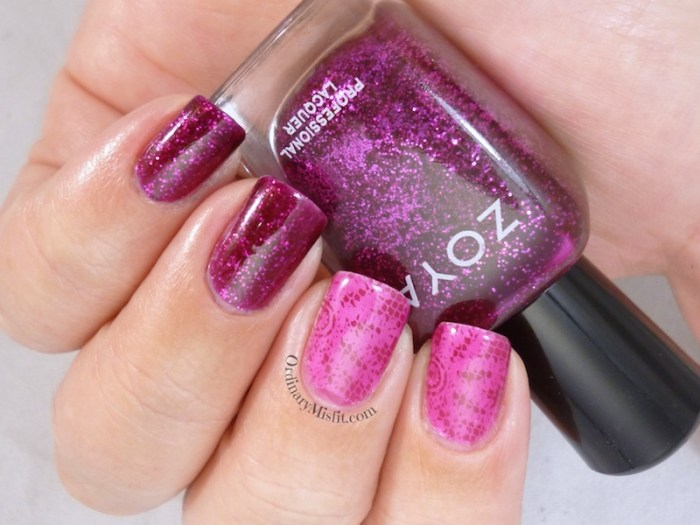 Shimmer and stamping sandwich nail art 2