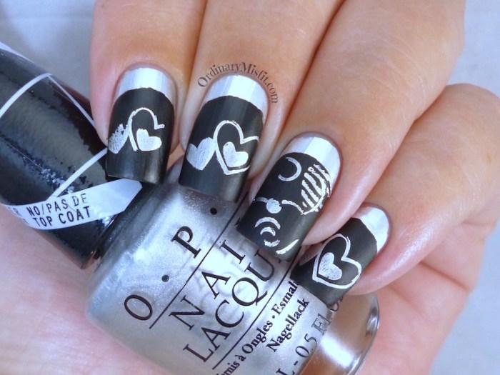 Chrome Valentine nail art 2