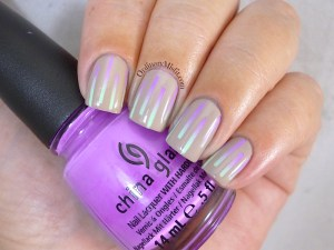 Nude and neon gradient stripes nail art