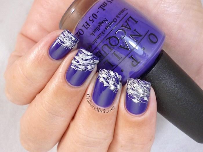 Purple and Silver sugar spun nail art