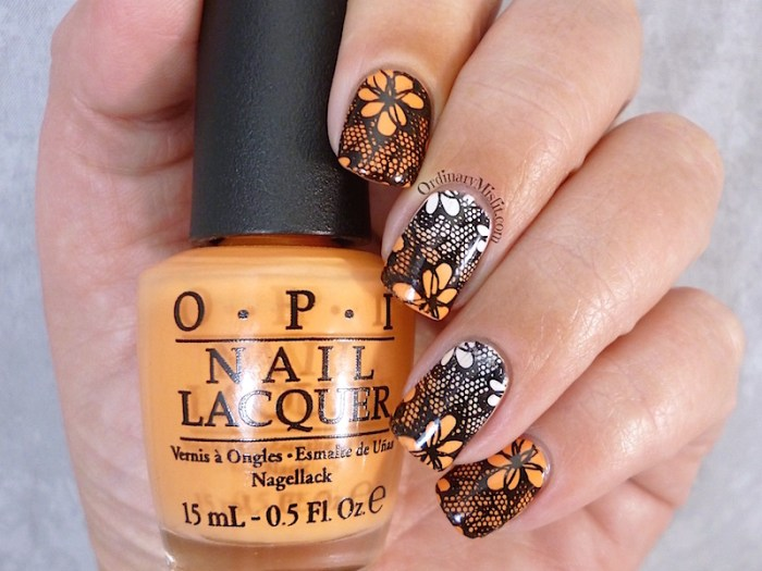 Born Pretty Store BP L020 orange gradient stamped nail art