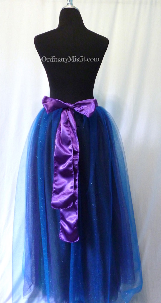Green, purple, blue adult long tutu back