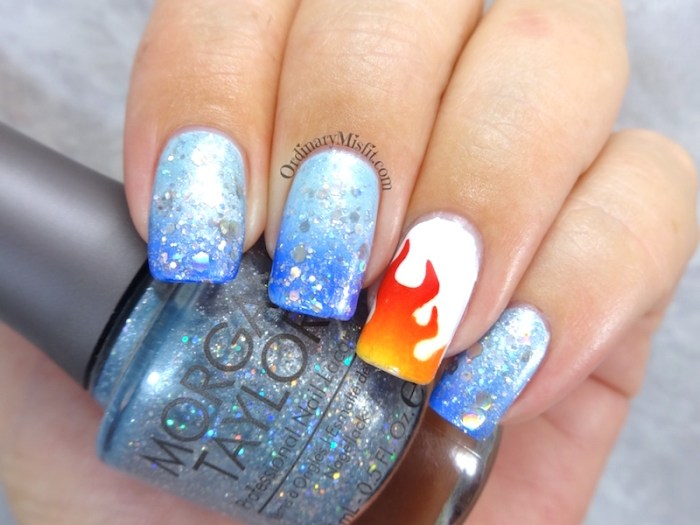 NAILLinkup March - Fire & Ice nail art