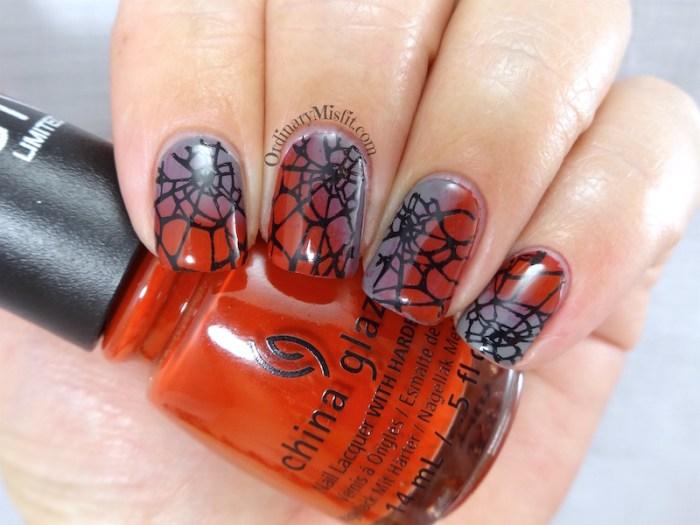 NAILLinkup July Wicked web nail art