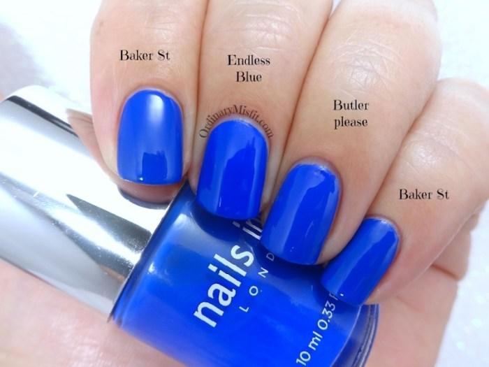 Comparison- Nails Inc - Baker str vs Sinful Colors - Endless blue vs Essie - Butler please