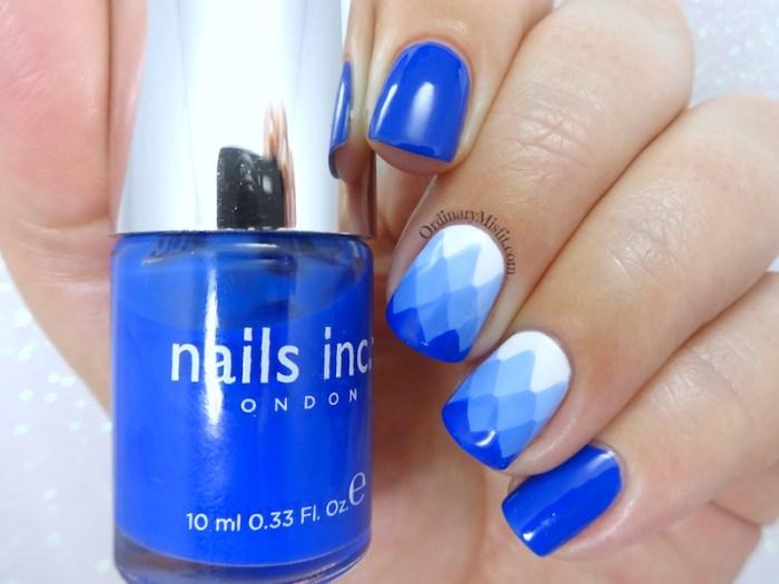 Blue gradient-ish nail art