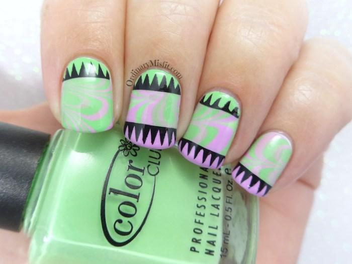 Geo marble nail art