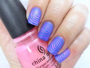 Neon swirl nail art