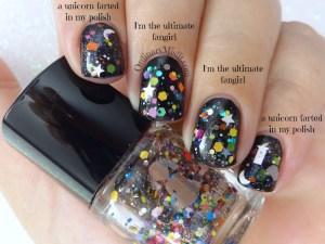 Comparison Dollish Polish - I'm the ultimate fangirl vs a unicorn farted in my polish