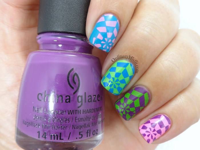 BP-L050 neon kaleidoscope nail art