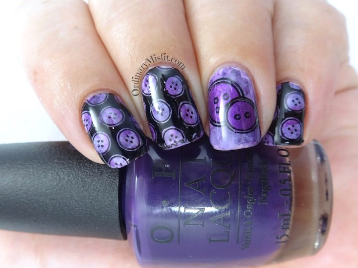 Purple smoosh buttons nail art