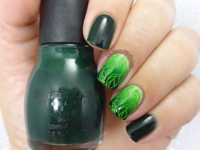 Green leaves nail art