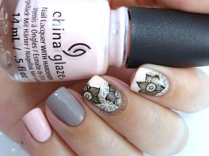 Nude blush gradient nail art