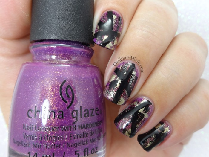 Purple grunge nail art