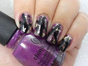 Purple grunge nail art