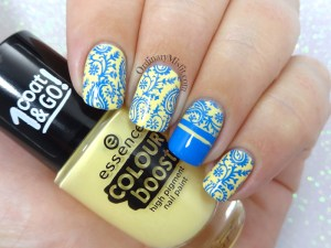 Yellow and blue nail art