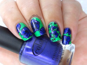 Born Pretty Store stamping plate review BP-L066 Green and purple flowers