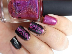 Friday Triad June - Inspired by Kakine nail art Black and pink spirals