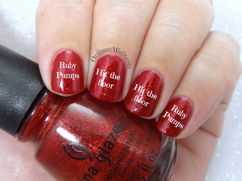 Comparison: China Glaze - Ruby pumps vs Pure Ice - Hit the floor