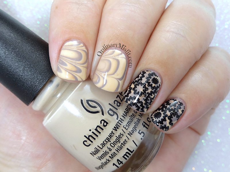 Stamped latte marble nail art