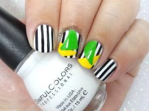 Colour block and stripes nail art