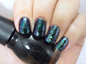 Chrome and flakes nail art