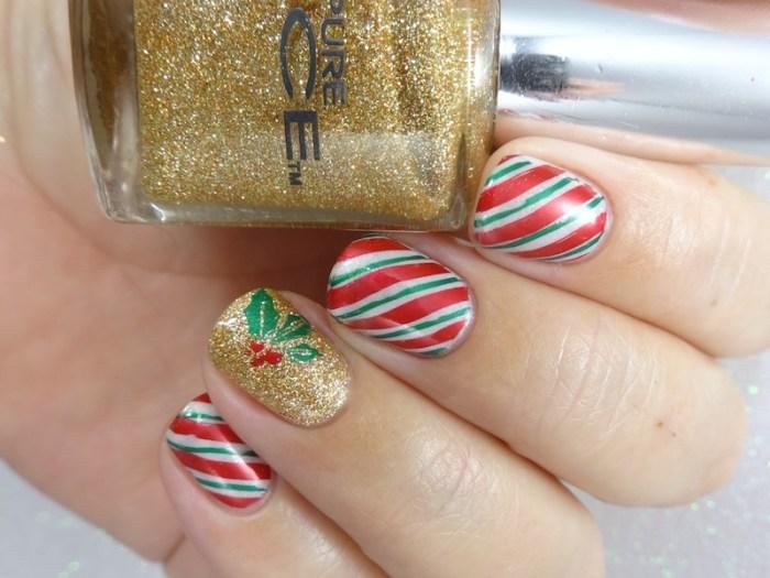 Candy canes & mistletoe christmas nail art