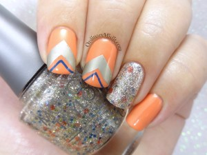 Mimosa shapes nail art
