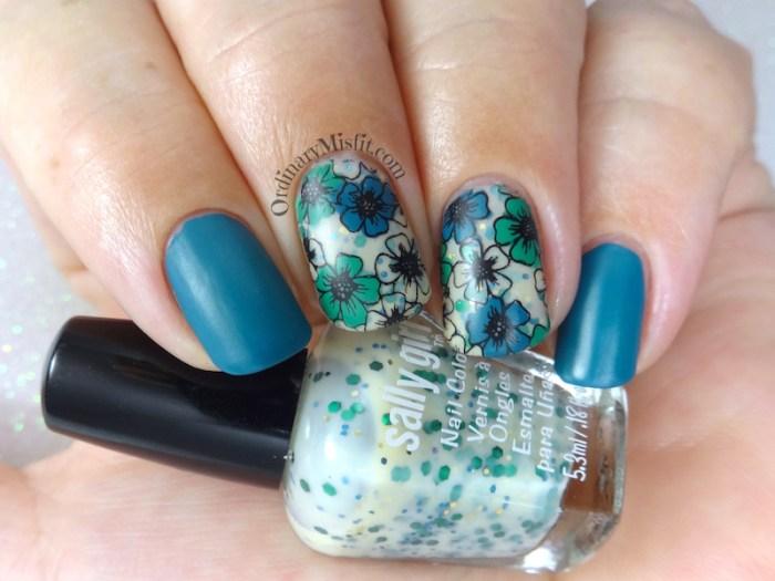 Yellow and green floral nail art
