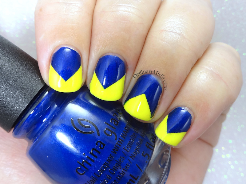 52 week nail art challenge - Week 24: Blue & yellow