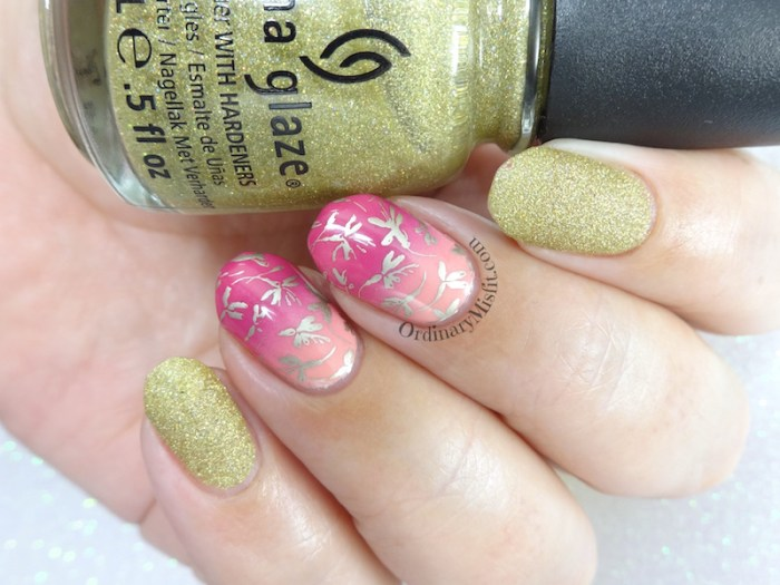 Gold n gradients nail art