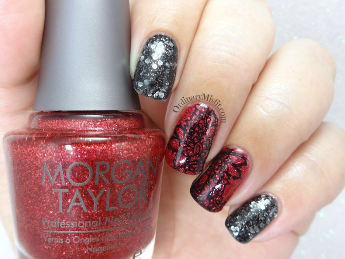 Red and black lace