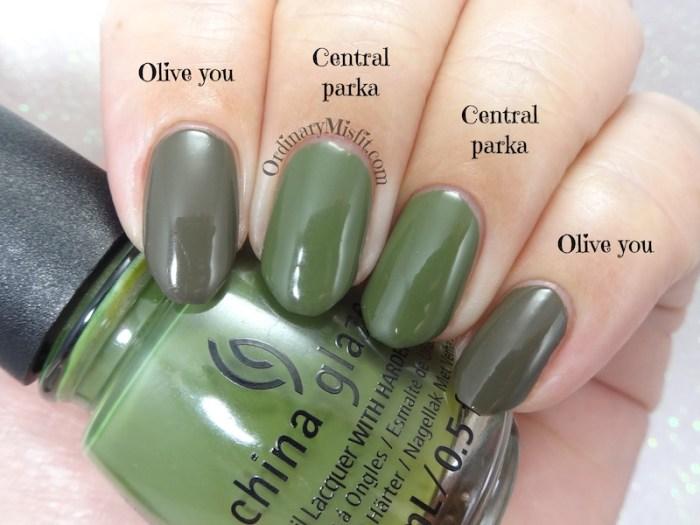 Comparison Essnce - Olive you vs China Glaze - Central parka 2