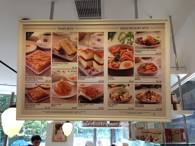 Seletar Mall Toast Box Menu