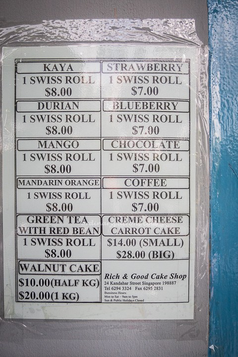 Rich and Good Cake Shop Menu
