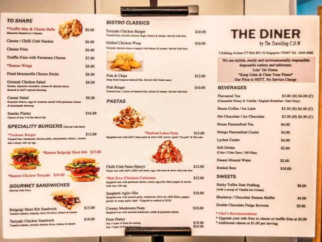 The Diner by The Travelling C.O.W Menu
