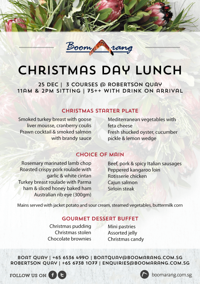 Boomarang Christmas Lunch Menu