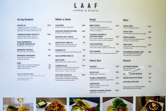 LAAF Coffee & Bistro Menu