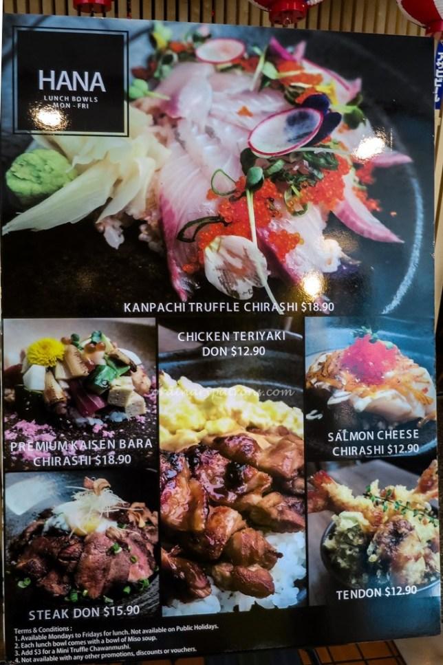 Hana Restaurant Menu