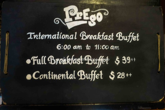 Breakfast at Prego Singapore - Buffet Price