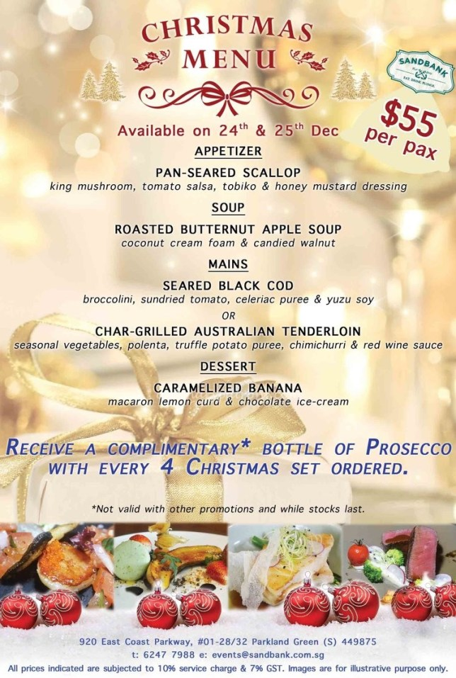 Sandbank Christmas Menu